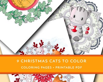 Christmas Cats Coloring Pages For Kids Mandalas Winter Adult Set Of 9 Printable PDF