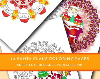 Santa Claus Coloring Pages For Kids And Adults Christmas Mandalas Winter Adult Set Of 10 Printable PDF