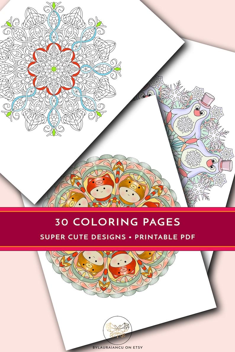 Printable coloring pages 30 printable mandalas Cute   Etsy
