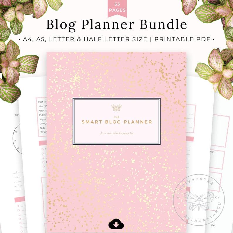Blog Planner Bundle Printable Blog Organizer Social Media image 0