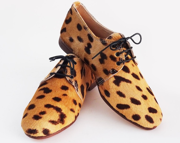 Leopard Print Leather Oxfords, MOROCCO