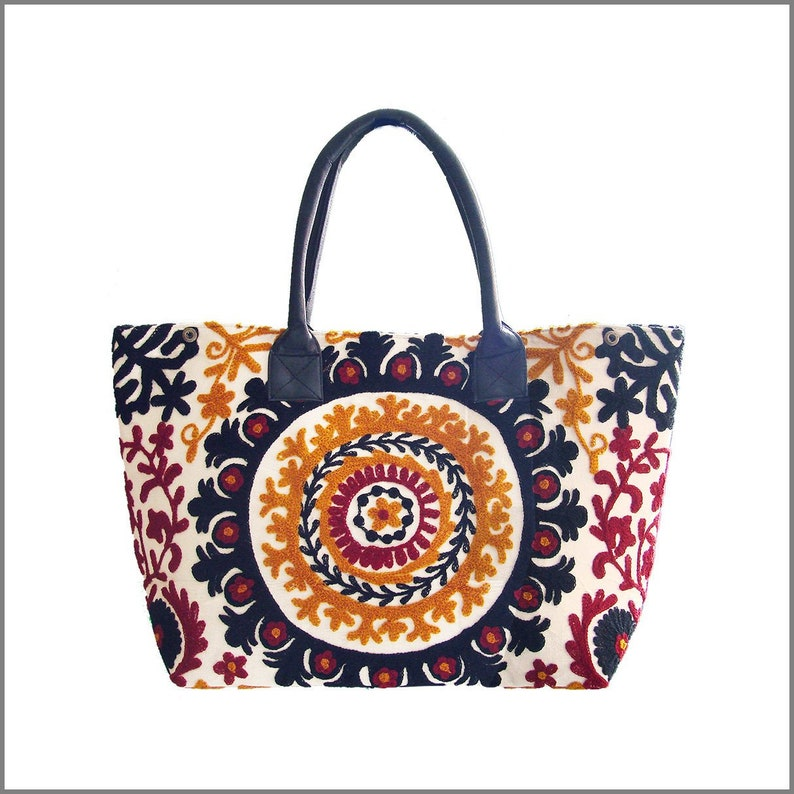 Gold /& Red Suzani Embroidered Totebag White INDIA Black