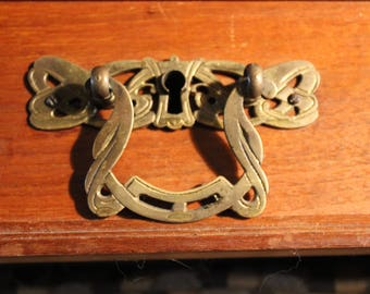 Set of Antique Art Nouveau Solid Brass Drop Handles and Mortise Locks