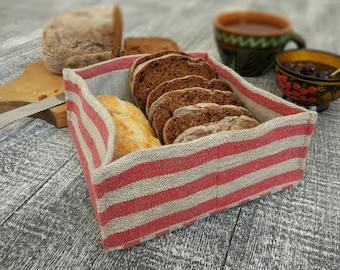 Small bread basket, linen basket, fabric basket.