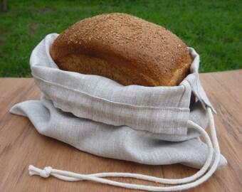 Reusable bag, Produce bag, Linen drawstring bag, Bread bag, Zero waste bag.