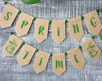 Spring decor, Embroidered spring banner, Easter banner, Spring garland.