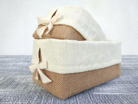 Burlap Storage Basket With Liner Bread Basket Liner Burlap | Etsy