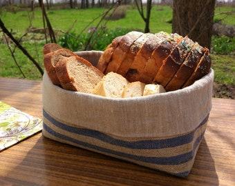 Linen bread basket, Blue striped basket, Bread basket, Fabric basket for bread.