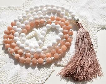Free Shipping! Sunstone and White Jade Mala! The Mala of Joy! Yoga Necklace, Meditation necklace. 108 Mala, Handmade, Yoga Jewelry