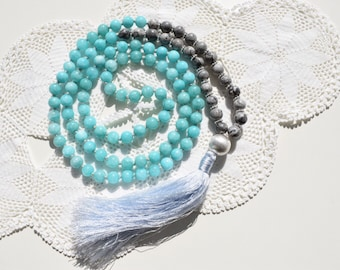 Free Shipping! Amazonite with Grey Picasso Jasper Mala! The Mala of Courage and Thruth! Mala Necklace, Meditation Necklace.Handmade.108 Mala
