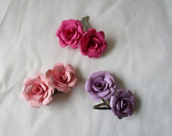 Handcrafted Layered Paper Rose Hair Clip Set (2 clips per set)