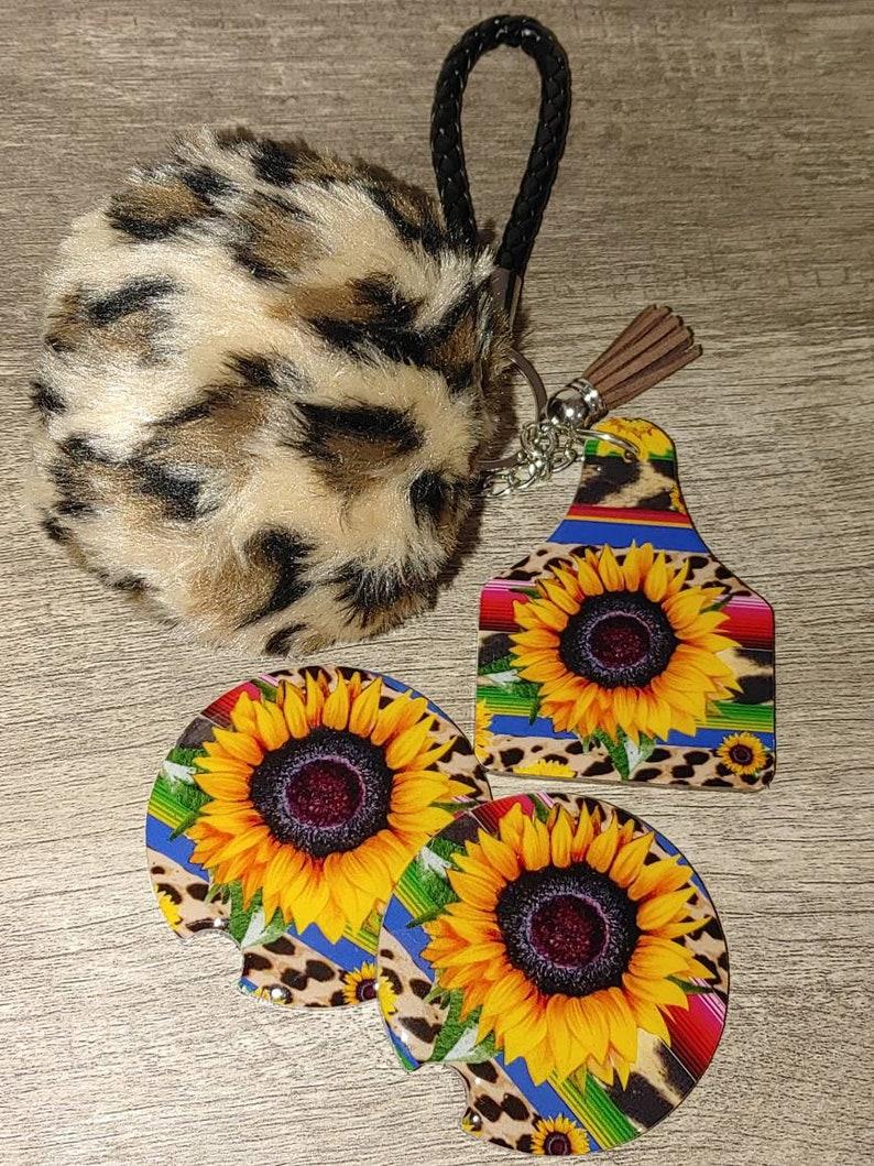 Stripe sunflower keychain and car coaster set