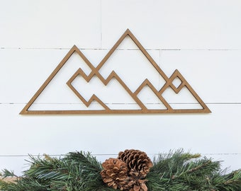 Geometric Mountains wall hanging | Geometric woodland theme mountain decor| Mountain range wall decor available in 4 sizes