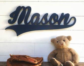 Baby boy Nursery sign, Baby name cutout, sports theme nursery, boys name sign, kids room baseball decor, above crib name sign