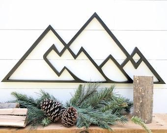 Geometrische Berge Wandbehang | Geometrische Thema Wald Berg Dekor | Gebirge-Wand-Dekor in 4 Größen erhältlich