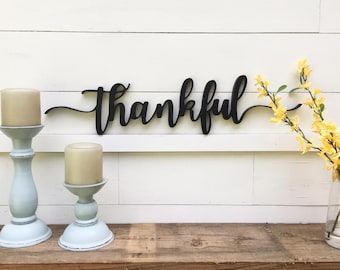 Thankful Word Cutout | Wooden letters | Thankful Sign