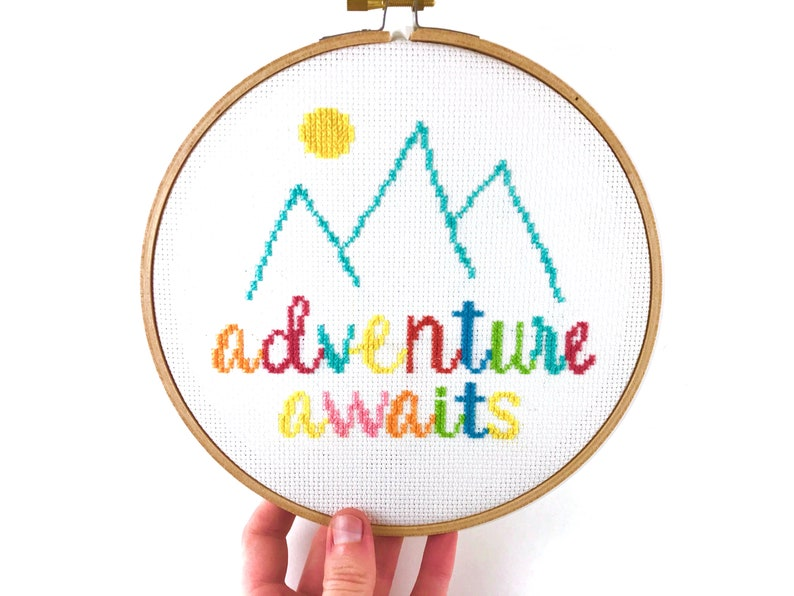 Beginner Cross Stitch Pattern, Inspirational Quote, Simple Cross Stitch,  Nature, Trip, Vacation, Travel, Easy Pattern, Adventure Awaits, PDF