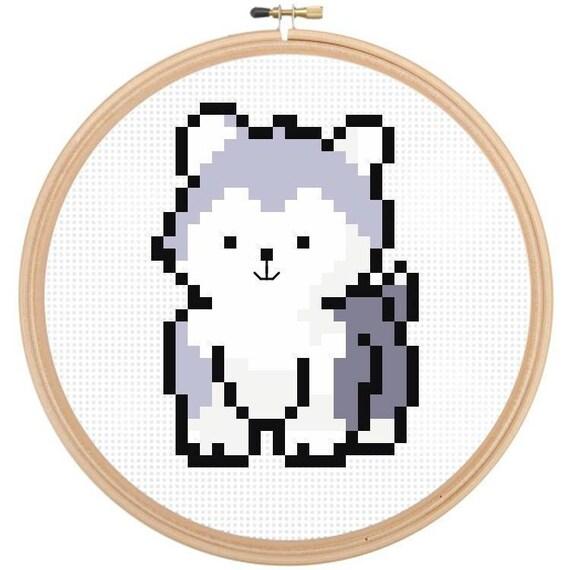 Dog Cross Stitch Pattern, Easy Cross Stitch, Beginners Cross Stitch, Cute  Husky Puppy, Baby Animals, Dogs, Modern Cross Stitch Easy Pattern