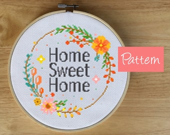 Home Sweet Home Cross Stitch Pattern - Modern Flower Wreath Cross Stitch Pattern - Gift for Friend