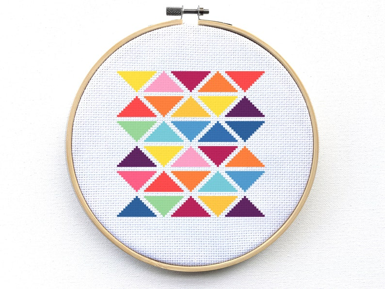 Needlepoint Counted Cross Stitch Pattern Geometric Modern Triangles Cross Stitch Kit Beginner