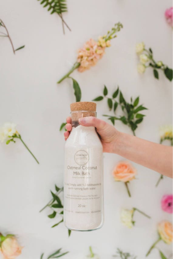 Oatmeal  Coconut Milk Bath 20oz Glass Bottle//Gruau Coconut Milk Bath