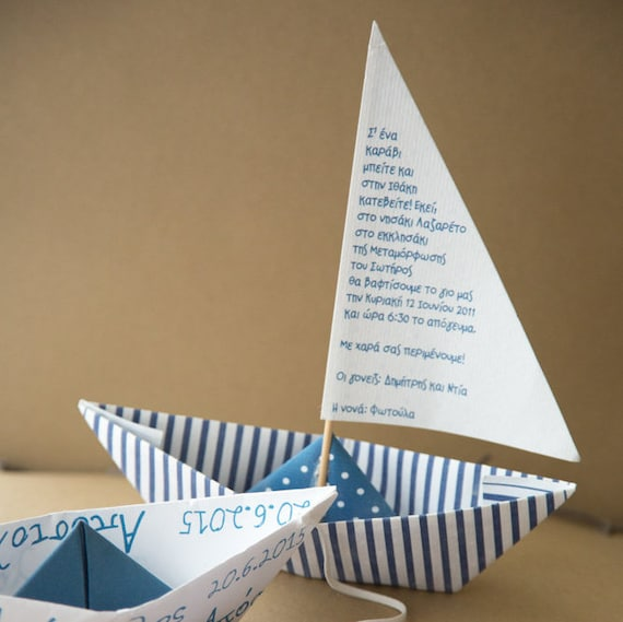 navy blue paper boat party invitations birthday baptism etsy