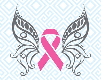 Cancer Awareness Butterfly SVG, Breast Cancer Ribbon Digital Cutting File, Silhouette and Cricut files, Pink Ribbon Butterfly SVG, 49luna