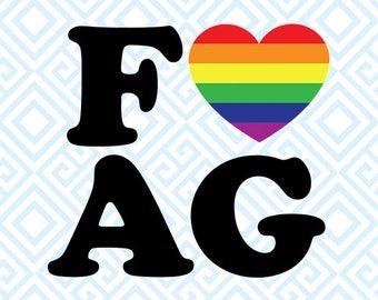 Fag Heart SVG, Gay Queer Pride File, Equality File, Rainbow Flag, Pride Month clipart, Pride Flag, LGBT Pride file, Fag SVG Design, 67luna