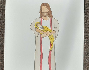 Infant Loss, Miscarriage Awareness, Savior Watercolor Sketch
