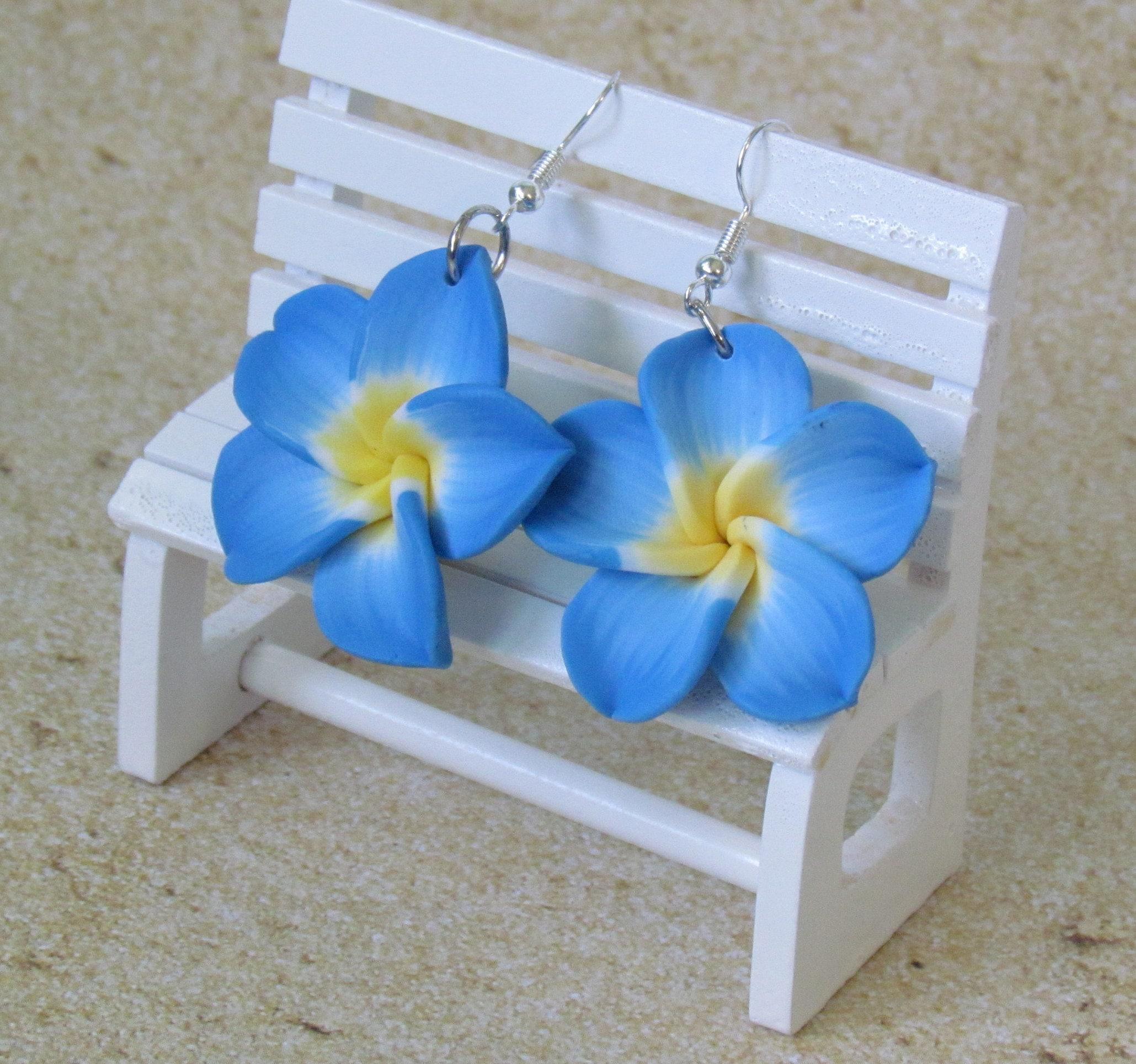 Womens Plumeria Earring Ladies Tropical Flower Earring Hawaiian