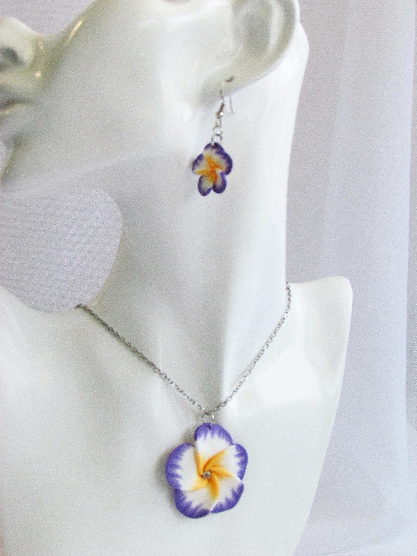 Plumeria Jewelry Plumeria Necklace And Earrings Set