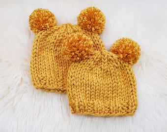 MADE TO ORDER - Double Pom Pom Beanie - Baby/Toddler Hat - Winter hat - Chunky Beanie in Mustard or Different Colours