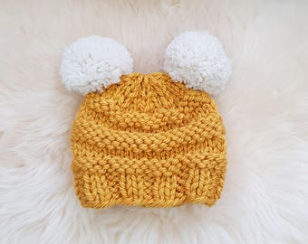 READY TO SHIP-Baby Chunky Double Pom Pom Beanie in Mustard and Cream white | Baby hat | Chunky Pom Pom Hat | Knit winter hat | Yellow