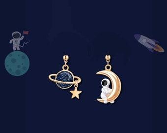 Crescent Galaxy Earrings Metallic Galaxy