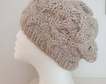 61a422bb8d4 MADE TO ORDER - Cable Knit Slouchy Beanie - Knit Beret - Slouchy Hat - 5  colours - Beige knit beanie - Earth   Natural Colour beanie