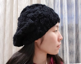a51448650b9 MADE TO ORDER - Cable Knit Slouchy Beanie - Slouchy Hat - Knit Beret - 5  Colours - Black knit beanie - Black Beret - Natural colour beanie