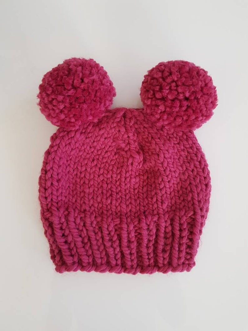 pink Knit winter hat READY TO SHIP- Toddler  Child Chunky Double Pom Pom Beanie in Raspberry| Toddler hat Chunky Pom Pom Hat