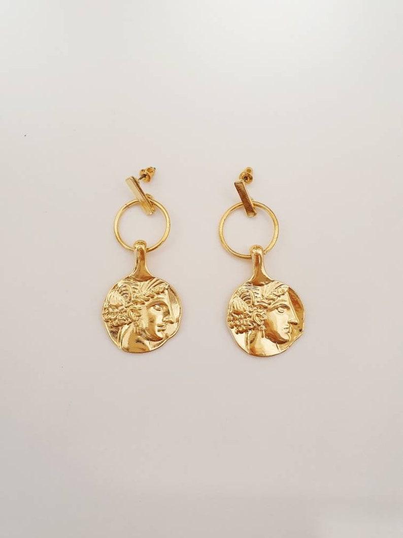 Medallion earrings Gold statement earrings  Greek coin earrings baroque vintage coins earrings retro lady face embossed earrings
