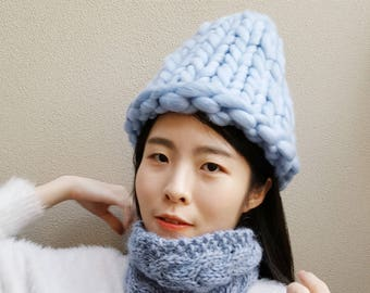 Super Chunky Hat - Korean Hat - Winter knit Hat (With | Without PomPom) - Blue