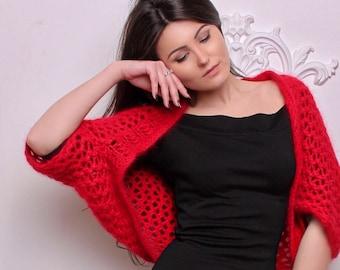 Red Angora bolero, Wedding bolero, Red bolero, Wedding jacket, Wedding Shrug,