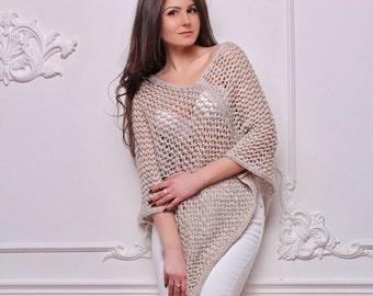 Knitted poncho,  Wool Poncho, Beige poncho, Oversized poncho, Knit wool poncho, Women poncho, Loose knit poncho, Poncho sweater,