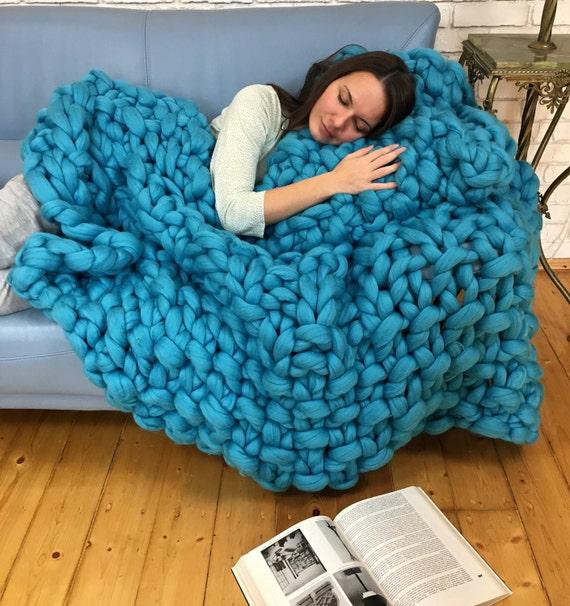 super klobig decke im perlmuster stricken chunky decke etsy. Black Bedroom Furniture Sets. Home Design Ideas