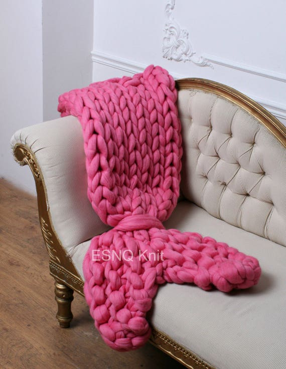 Ladies Womens Mermaid Fish Tail Cocoon Blanket Knitted Sofa Warm Cozy Winter New