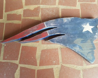 Distressed Wooden New England Patriots logo