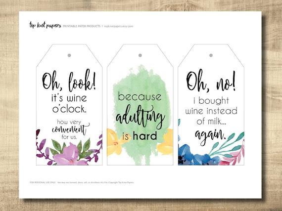 printable wine tags printable gift tags make your own gift etsy
