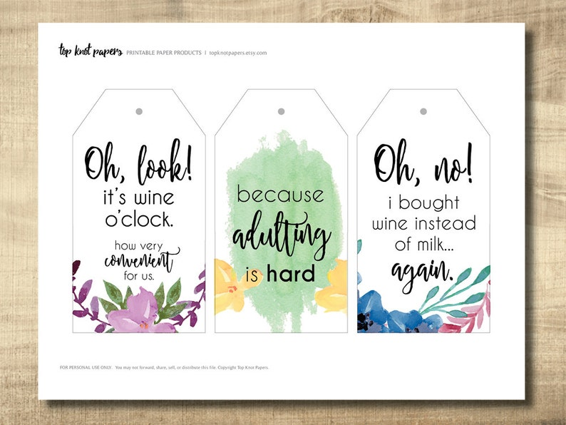 Printable Wine Tags DIY Gift Tags Make Your Own Gift Tags at Home Instant Download Girls Night Wine Tags Printable Gift Tags