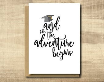 Printable Graduation Card -- Make Your Own Cards at Home, instant download, DIY Card, And so the Adventure Begins