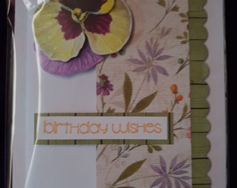 Birthday Card -Pansy Scalloped Edge