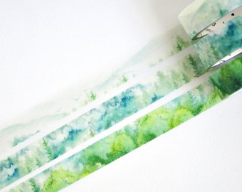 Green Serene Forest Washi Tape, Masking Tape