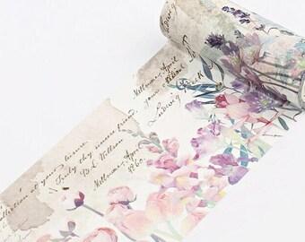 Pastel Flowers Vintage Washi Tape, Wide Washi Tape - WT482